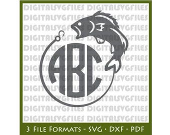 Fishing Monogram SVG File - Fish Bass dxf File -Initial Monogram vector svg file for Cricut, Bass SVG File for Silhouette,vinyl cutting