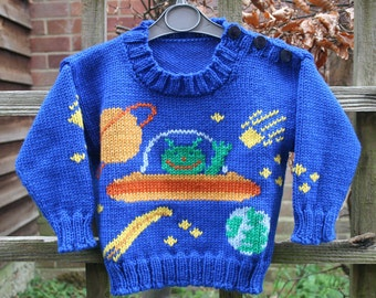 KNITTING PDF PATTERN - Aliens in Space - Toddler's Sweater