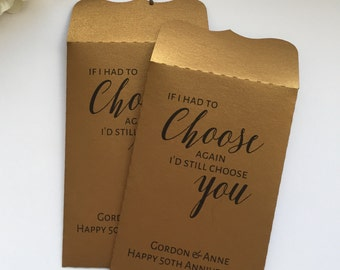 10 Gold Wedding Favours Seed Packet Envelopes Personalised Anniversary