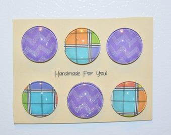 Purple Plaid Refrigerator Magnets