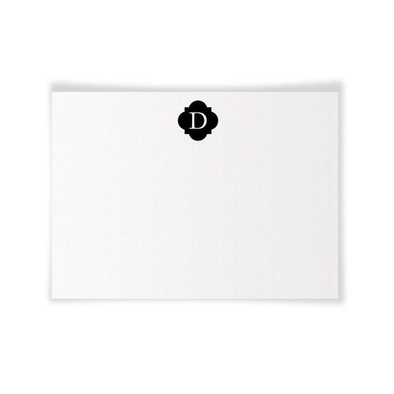 D Monogrammed Printable Notecard