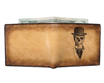 Custom Leather Wallet - Mens Wallet - Bifold Wallet - Top Hat Skull