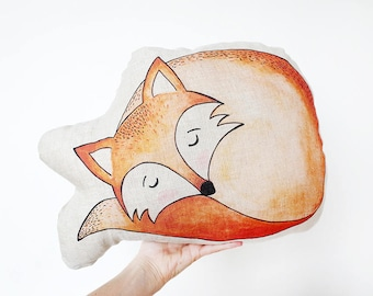 LINEN FOX PILLOW, fox plush, animal pillow, animal plush