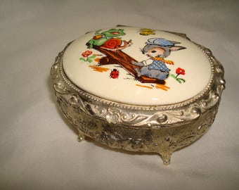 1970s Silver Like Made in JAPAN Jewelry Box with Froggy and Rabbit on a Sew Saw Lid.