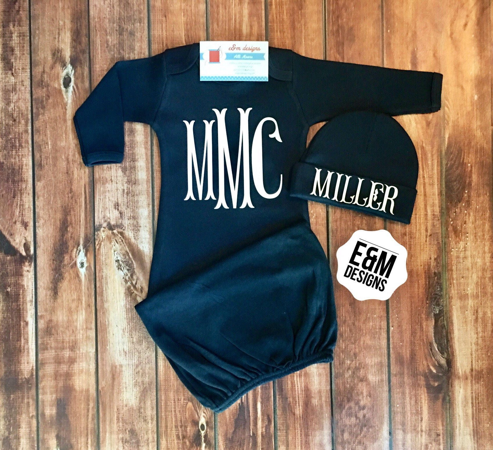 Boy ing Home Outfit Monogrammed Baby Boy Gown Navy Set