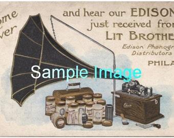 Lit Brothers edison phonograph distributors vintage ad, vintage art, phonograph, phonograph ads