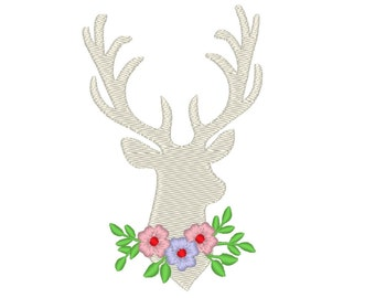 Buck deer flowers silhouette embroidery designs, many mini sizes (.pes .hus .dst .vp3 .vip .xxx .exp .jef) embroidery fill stitch embroidery