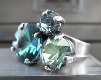 Ocean Dreams Ring, Trio Ring of Swarovski Crystal in Aqua Teal, Seafoam Green, Slate Blue - Jewelry Gift for Beach Girl, Ocean Beach Lover,