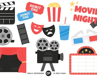 50% OFF SALE! Movie Night Clip Art, Film Clipart, Cinema Clip Art - Commercial Use, Instant Download