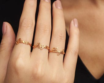 Mother's Day Gift • Stackable Mother's Rings • Stacking Name Ring • Silver Name Ring • Personalized Name Jewelry • Gift for Mom Kid Name CNR