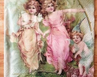 Set of 4 Vintage Angels Paper Lunch Napkins Decoupage Crafts Collage Scrapbooking  #032