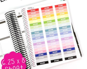 LS257 Pale Home MDN Header Planner Stickers!  Set of 60, Vinyl Box Headers, Work At Home, Vacation Trip, Happy Planners, Erin Condren
