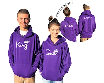KING QUEEN couple hoodies, personalized Back custom Dates, Both come together, Anniversary gift Matching