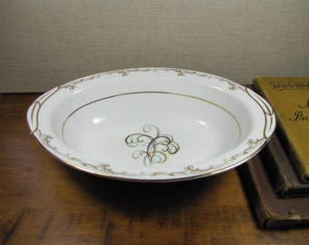 Vintage Noritake Esteem Serving Bowl - Blue and Brown Scrolls
