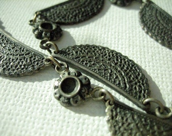 Vintage Link Necklace Hollywood Glam Silver Tone