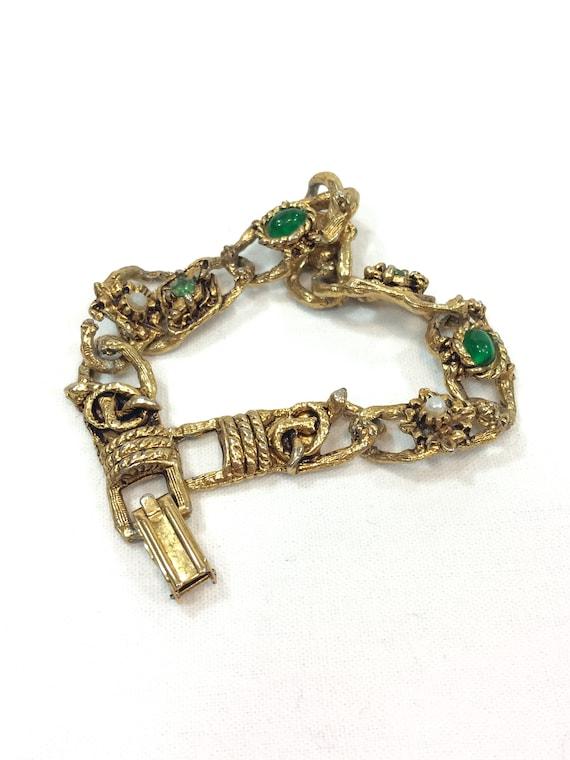 LJM Thin Gold Link Bracelet, Flowers & Pearls, Green Cabs Rhinestones, Textured Goldtone, Renaissance Revival, Vintage 1960s Fashion Jewelry