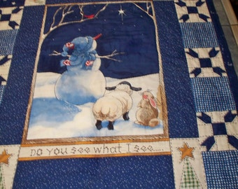 Do You See What I See Hand Quilted Table Topper Table Runner Wall Hanging