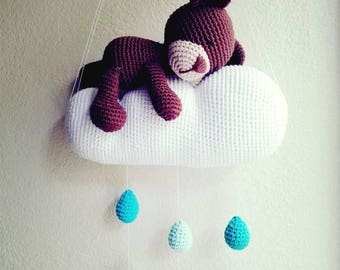 Sleepy Teddy Bear with Cloud and Raindrops Baby Nursery Mobile **Finished Product! Ready to Ship**