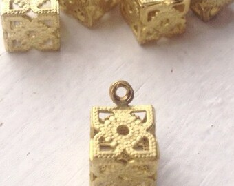 Vintage Fancy Brass Filigree Cube Charm - Item 42