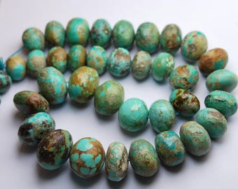 16 Inches Strand,682 Carats,Natural Arizona TURQUOISE Smooth Rondelles Size 12-20mm