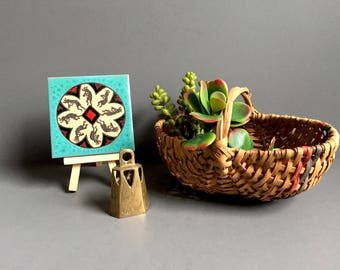 Boho Decor Grouping, Miniature Brass Bell, Southwestern Tile/ Coaster, Buttocks Basket