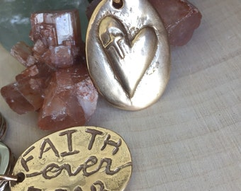 Faith over Fear hand cast bronze and leather necklace  Ready to Ship