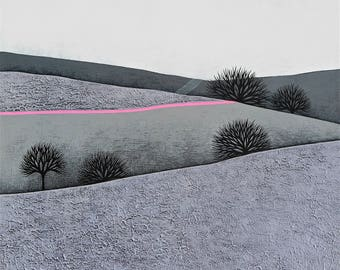 Intermission 7 - Archival 8x8 Art Print - Contemporary Winter Landscape Painting - Grey, Neon Pink - by Natasha Newton