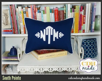 South Pointe Applique Monogrammed Pillow Cover - 12 x 18  lumbar
