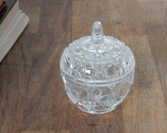 Vintage  Glass Trinket Bowl, Trinket pot,Good Condition,Boho, shabby chic, retro.Dressing table Jewellery pot.Vintage Glass.