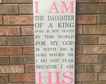 I Am His Wood Sign - Child - Daughter - Christian