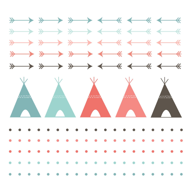 ?zoom  sc 1 st  Etsy & 60% OFF SALE Digital Clip Art Teepee Tent Digital Borders