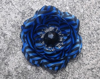Blue and Black Striped Flower Hair Clip