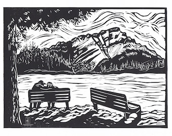 Cascade View, Banff -  Linocut Relief Print, Hand Pulled Fine Art, Limited Edition, Printmaking Original