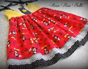 Mickey Dress, Mickey Mouse Dress, Disney Dress, Red Dress, Girls Mickey Dress, Walt Disney World Dress, Girls Dress, Summer Dress, Handmade