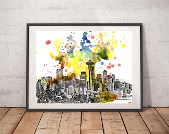 Seattle Skyline Art Print From Original Watercolor Painting 18x24 in. Seattle Painting Print Seattle Large Wall Art Poster Print Seattle Art