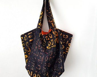 Brown and Yellow Tote, Batik tote bag, Shopper tote bag, Medium tote bag, Striped tote bag, Bag for life, Say no to plastic bags, Cube Tote