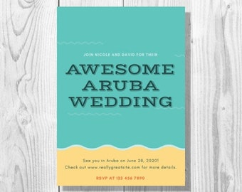 Teal and Yellow Beach Destination Wedding Invitation - Printable