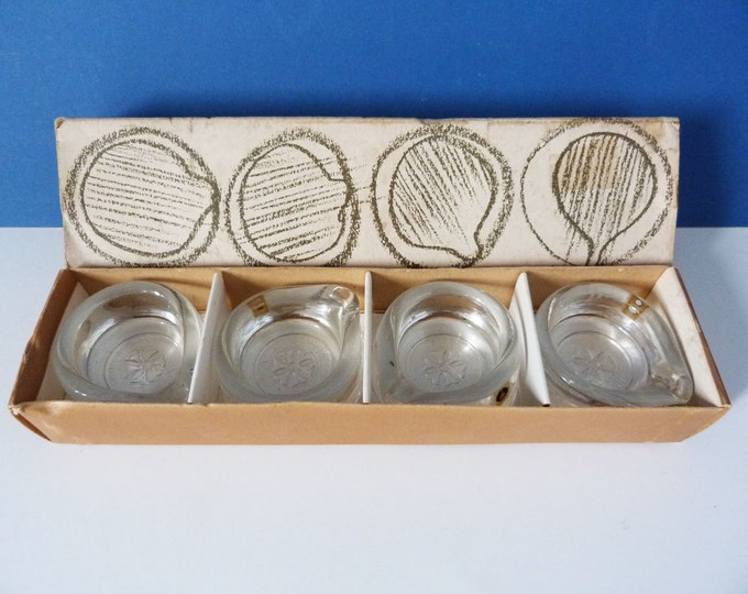 Pukeberg Sweden Glass Ladies circle ashtray x 4