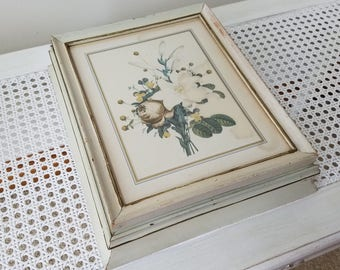 SALE Vintage Wood Box With Botanical Flowers Floral Art Print Under Glass With Mirror, Aged Cream Paint, French Country Shabby Cottage