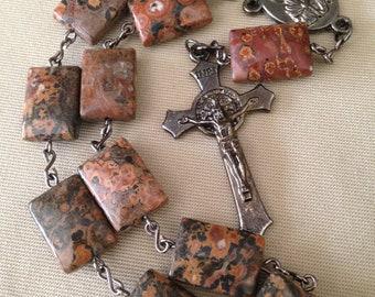 Genuine Leopardskin Jasper Gemstone Single Decade Catholic Rosary