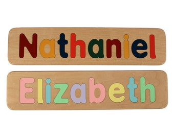 Name Puzzle - Raised Letters - Custom Personalized - Wooden - Birthday Gift - Educational - First Birthday - Mixed Case Letters Only