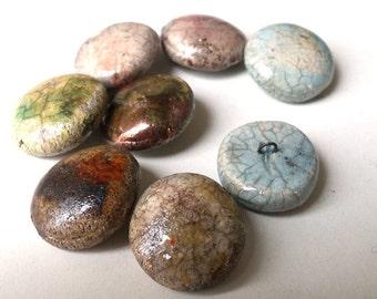 8 Handmade ceramic button - round raku button - artisan button - natural OOAK button - bohemian style - boho chic