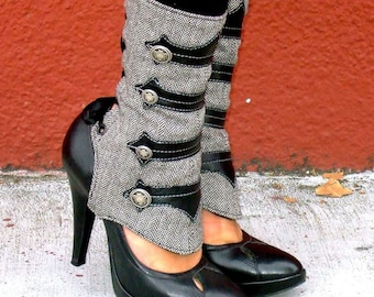 Women's Spats -Military-Inspired Leather Applique and Herringbone Spats with Buttons-Isa