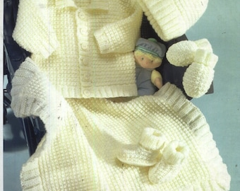 BABY KNITTING Pattern  for jacket hat blanket mitts booties size prem 12 in to 22 in chest dk instant download