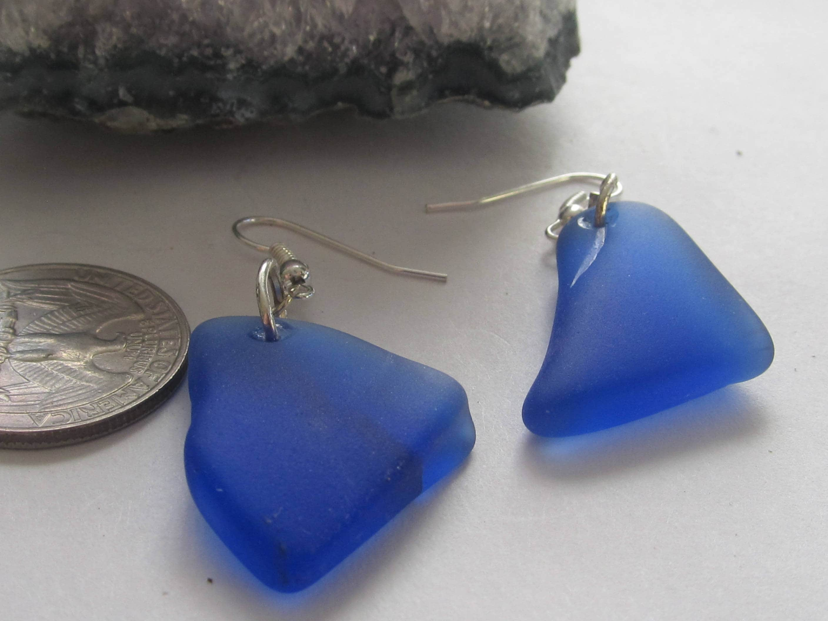 of claudetteworters original product with blue murano earrings claudette ellipse cobalt glass by worters silver