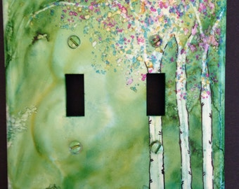 Aspen Trees Green Background - Switch Plate - Handpainted Wall Decor--