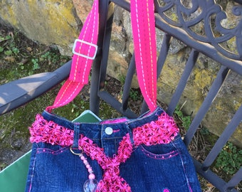 Scarf with Bling on Denim Jeans Bag - fuchsia sequined scarf and embroidered fuchsia butterflies on jeans bag - repurposed jeans - denim bag