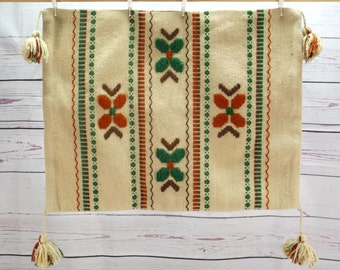 Old  Swedish Pillow Case, Hand Woven Wool Pillow Cover, Rosepath, Traditional Folk Weaving, Rustic Home Decor, 1930s Scandinavian Textile