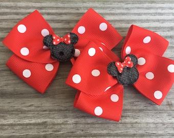 Minnie Mouse Bows / Minnie Mouse Piggy Tails Bows / Disney World Bows / Disney Bows / Set of 2