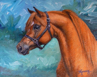 Red Arabian stallion 6x8 original oil painting sfa animal horse art by Kerry